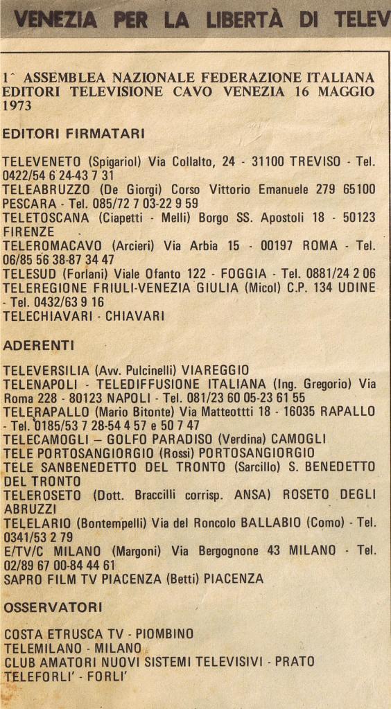 CONVEGNO TV VIA CAVO VENEZIA -FIRMATARI
