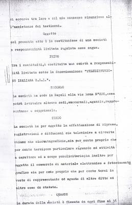 STATUTO TELEDIFUSIONE ITALIANA TELENAPOLI2