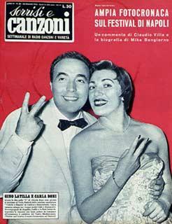 Copertina tv sorrisi e canzoni n.26 1955 gino latilla e carla boni