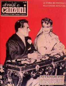 Copertina tv sorrisi e canzoni n.24 1955 flo sandon's e natalino otto sposi