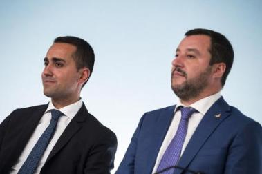 Italian Deputy Premier and Labour and Industry Minister Luigi Di Maio with Italian Deputy Premier and Interior Minister, Matteo Salvini (R), attend a press conference after a Government summit at Chigi Palace in Rome, Italy, 03 October 2018. ANSA/ANGELO CARCONI