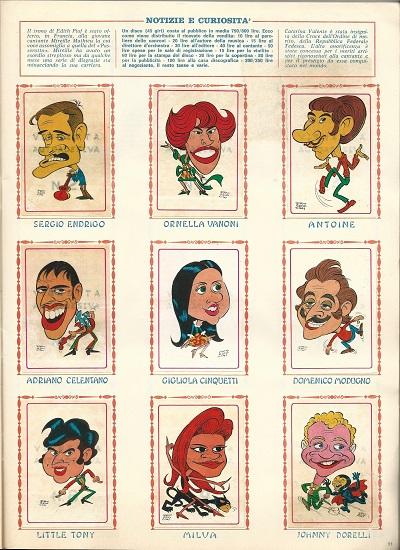 caricature cantanti